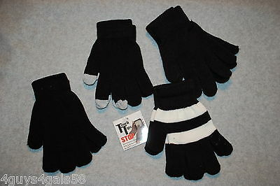 Womens 4 PAIR LOT STRETCH GLOVES Touchscreen Tips BLACK White Stripe ONE SIZE