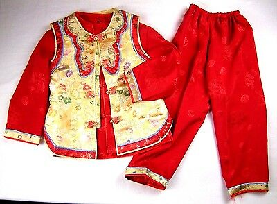 Boy size 8 Red Gold Embroidered Oriental Outfit Costume
