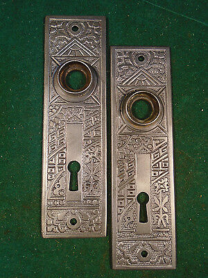 "BEAUTIFUL PAIR of EASTLAKE CAST STEEL BACKPLATES 5 1/2"" (2993-Z)"