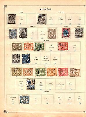 Curacao 1889 to 1915 Collection on Scott International Album Page Lot of 17