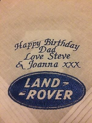 Personalised Embroidered Handkerchief Birthday Dad Brother Grandad Land Rover