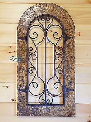 Rustic Antique Tuscan Old World Scrolling Wood Metal Wall Panel Art Vintage NEW