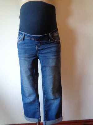 Red Herring  Maternity Blue Over Bump Cropped Denim Jeans Shorts Size 10