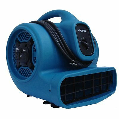 XPOWER X-400A 1/4 HP 1600 CFM 3 Speed Air Mover with Dual Outlets for Daisy C...