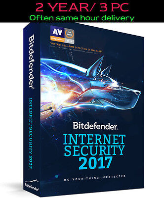 Bitdefender Internet Security 2017 | 2 year/ 3 pc | ESD Download | Key | NO CD