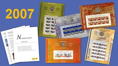 All 5 Numisblätter Vintage 2007: Numisblatt 1/07 - 5/07 + Specification Sheets