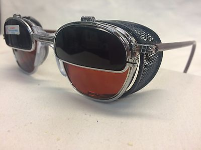 Nos Ao Glasses Metal Flip Up / Shields Amber Lens Safety Welding Customized