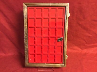 Zippo lighter walnut wood display case with 30 compartment holder