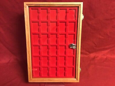 Zippo lighter cherry wood display case with 30 compartment holder