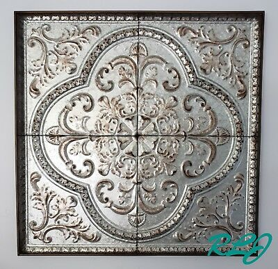 Distressed Old World Vintage European French Country Metal Wall Plaque Panel Art