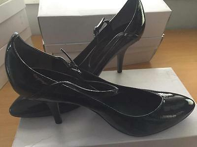 New womens ASH Brand Heels Pewter Patent Enclosed toe strap Shoes size 9 / 10