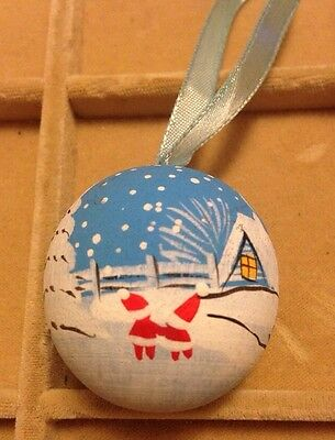Vintage Wooden Painted Ball Christmas Tree Ornament Finland