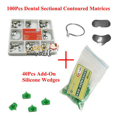 Dental 100PC Sectional Contoured Matrices Matrix Ring Delta +40PC Add-On Wedges