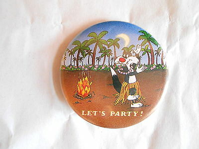 Vintage 1989 Warner Bros Sylvester Cat Cartoon Character Lets Party Pinback