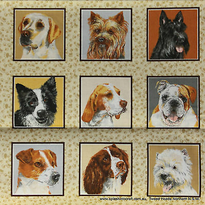 QUILT PANEL/WALL HANGING  - DOGGIES DELIGHT SQUARES by NUTEX - 33 BLOCKS