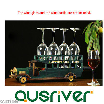 Retro Vintage Wood Bus Wine Glass Gadget Bottle Rack Holder Xmas Gift Home Decor