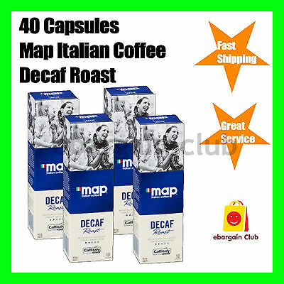 40 Capsules Map Italian Coffee Decaf Roast Capsule Pod Caffitaly System