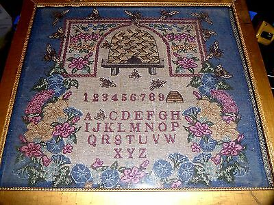 Tapestry Sampler With Honey Bees & Hive~Alphabet & Numbers~Vermont Early Mormon?