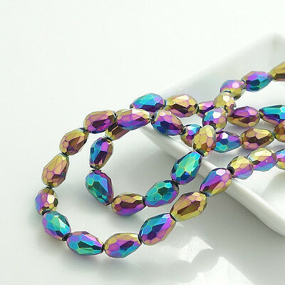 Faceted Teardrop Glass Crystal Loose Spacer Beads blue mix 8x12mm 10x15mm