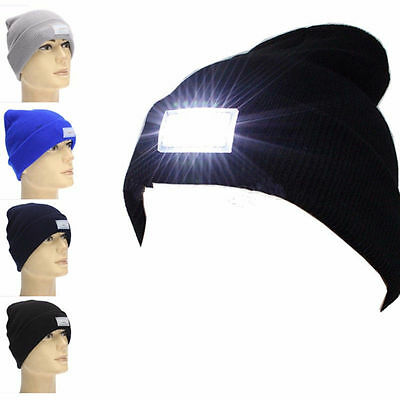 5 LED Light Beanie Mens Hat with 2 Batteries for Hunting Camping Running Fishing