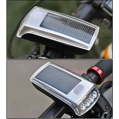 4 LED Riding Bicycle Bike Solar Power USB 2.0 Rechargeable Front Head Light Lamp