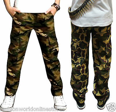 Fashion Kids Boys Cargo Pants Children Casual Trousers Cotton Straight Leg Camo