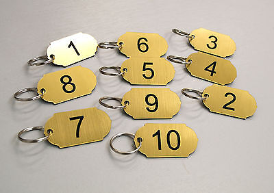 Set of 10 numbered key tags, clubs leisure centres, school, keyrings, door, home