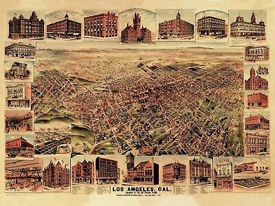 Map Los Angeles California 1891 Large Wall Art Print Poster Picture Lf2005