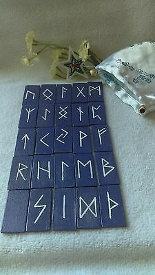Hot Hand Painted Rectangle Cards Wood Viking Rune Stones Oracle Set of (25)