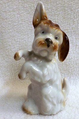 Vintage Pottery Begging Terrier, One Ear Down