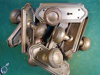 7 FULL SETS of VINTAGE KNOBS & PLATES - CIRCA 1915, BRASS WASH FINISH   (6255)