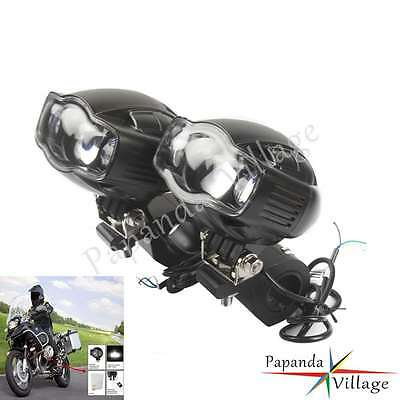 """Motorcycle LED 1 1/8"""" Driving Fog Headlight Brackets USB Charger For Harley New"""