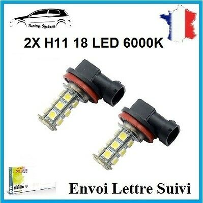 2 Ampoules 18 Led Smd H11 Anti Brouillard Feux Route Position Tuning 6000K