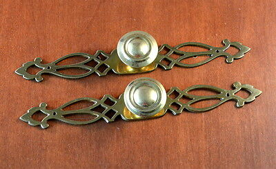 "Set of 2 VINTAGE Keeler Brass Back Plates N-18771 &  1 1/4"" Brass Knobs"