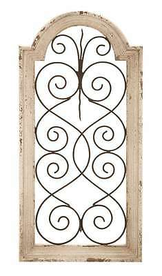 Distressed Rustic Vintage Shabby Scroll Window Arch Wood Metal Wall Panel Art