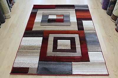 NEW  BURGUNDY  Abstract Modern Contemporary Quality Rug S - XL Large SALE 30%OFF