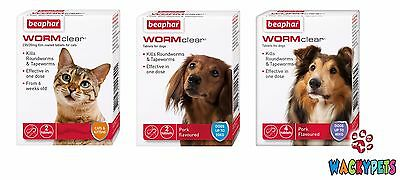 DOG CAT PUPPY WORMER: BEAPHAR WORM CLEAR. Tapeworm / Roundworm