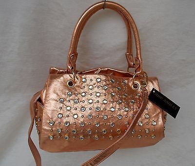 New Women's Ohh Ashley Italian Milled Leather Satchel Stones Studs Copper Foil