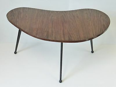 Coffee Table Haricot Rognon Years 50 Formica Imitation Wood Tripod 1950 Vintage