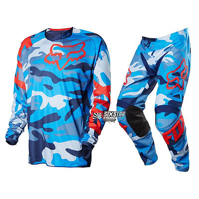 Fox Racing 180 Camouflage Bleu Equipement Motocross Kit Maillot Pantalon Enduro