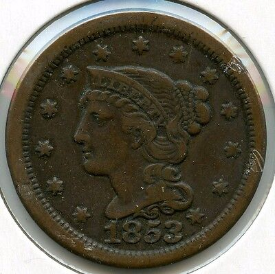 1853 Braided Hair Large Cent Penny - L1C KZ658