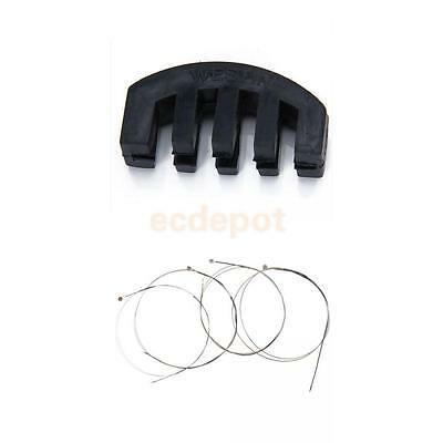 Set 4 Steel Core E A D G String + Black Rubber Practice Mute For Size 4/4 Violin