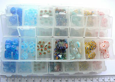 Container, 7 Compartments - Millefiori Style Glass Mixed Styles x 48 beads (55g)