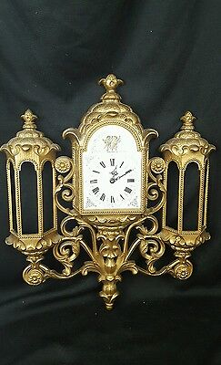 VTG Burwood Rococo Wall Clock New Haven  #597 Ornate Works! 1974