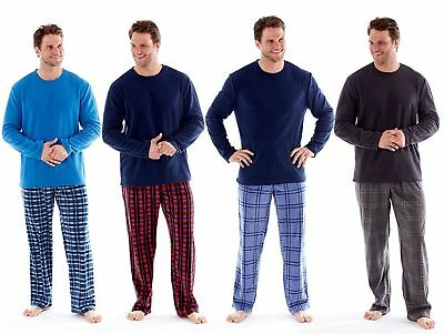 Men's Fleece Check Pyjamas Winter Thermal Lounge Wear M-XXL Harvey James