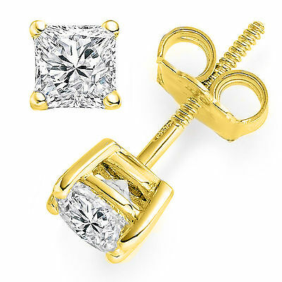 2ct Princess Cut Solitaire Stud Earrings Brilliant Cut14k Yellow Gold Screw Back