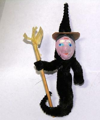 Rare Vtg 1950S Clay Face Chenille Halloween Novelty Witch Costume Jewelry Pin