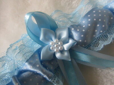 Handmade Dainty Dot Ribbon Light Blue Wedding Garter Blue Lace & Blue Flower.