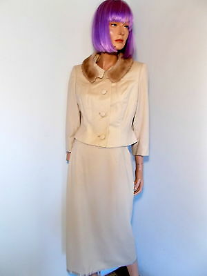 """MITZI MORGAN Vintage 40s IVORY DRESS SUIT Mink Collar Tailored WWII New w 26"""" S"""