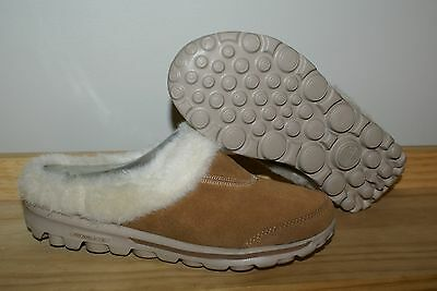 New Skechers Womens Cozy Slippers Clogs Shoes Faux Fur w/Box Brown Tan
